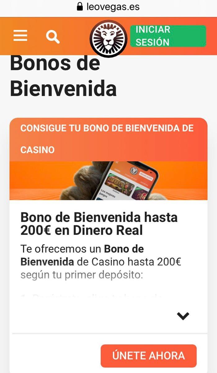 Dinero real en los bonos de casino LeoVegas: Mejor desde su App