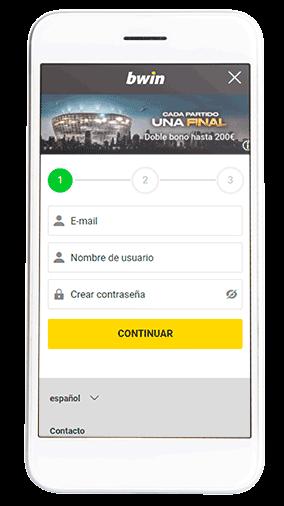 registrarse en la app movil de bwin