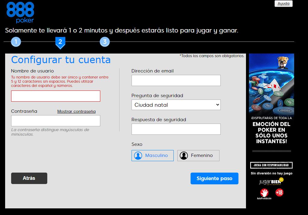 registrarse en el casino 888poker